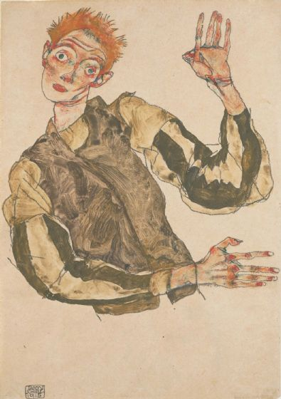 Schiele, Egon: Self-Portrait with Striped Armlets/Sleeves. Fine Art Print/Poster. Sizes: A4/A3/A2/A1 (003719)